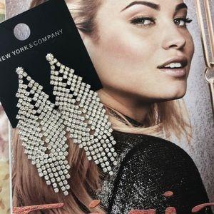 NWT long crystal dangling earrings